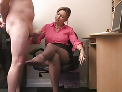 British Milf Gives Handjob For Cum On Her Stockings !