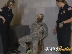 Military dude gets arrested to be fucked by two horny milf cops at a wareho