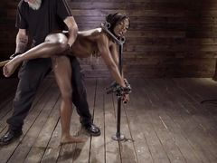 Ebony Beauty Gets A Huge Dildo Into Her Tight Chocolate Pussy