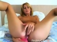 Beautiful MILF with big tits fucks a dildo on webcam