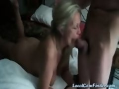 Milf sucks cock of younger guy