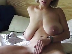 Blonde MILF with Huge, Saggy Tits Rubs her Big Labia & Clit