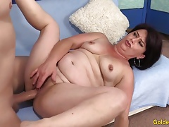 Older woman Jenna Jingles strips down and fucks