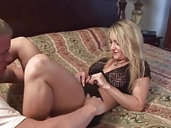Blonde mature cougar fucks younger guy